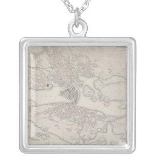 Antique Map of Stockholm, Sweden Square Pendant Necklace