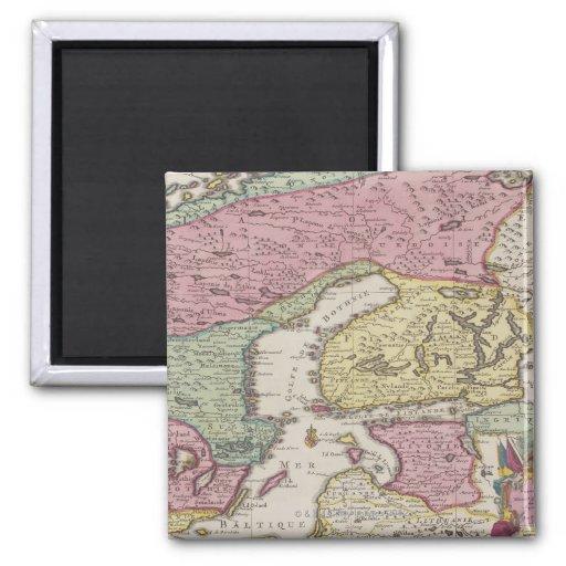 Antique Map of Sweden 2 2 Inch Square Magnet
