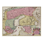 Antique Map of Sweden 2 Postcard