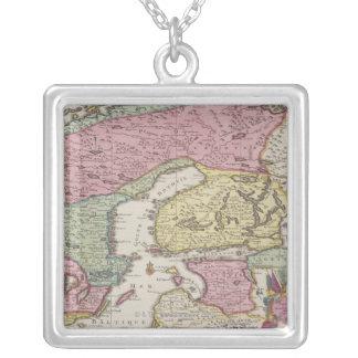 Antique Map of Sweden 2 Square Pendant Necklace