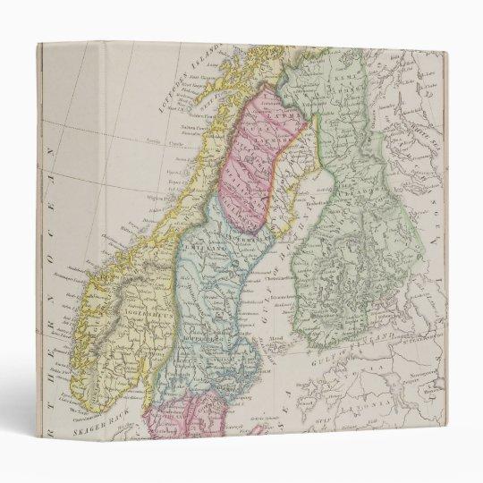 Antique Map of Sweden 3 Ring Binder