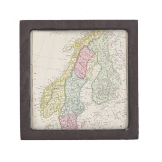 Antique Map of Sweden Jewelry Box