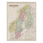 Antique Map of Sweden Postcard