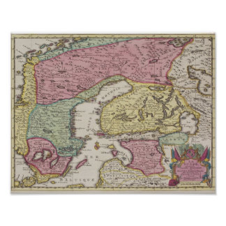 Antique Map of Sweden Poster