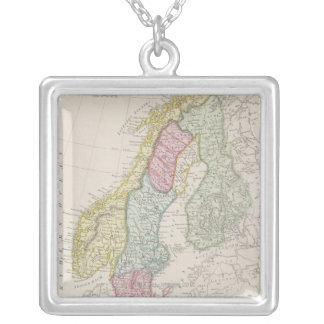 Antique Map of Sweden Square Pendant Necklace