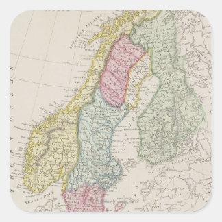 Antique Map of Sweden Square Sticker