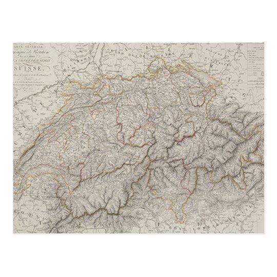 Antique Map of Switzerland Postcard