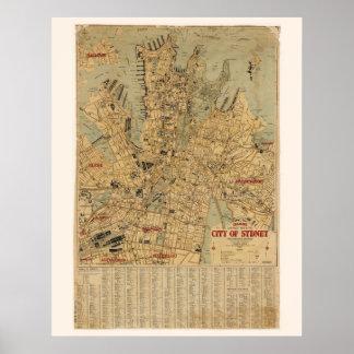 Antique map of Sydney Australia Poster