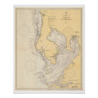 Antique Map of Tampa Bay Florida Poster