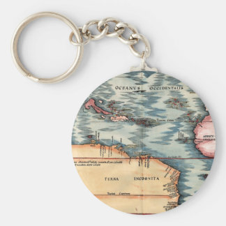 Antique Map of The Atlantic Ocean Keychains