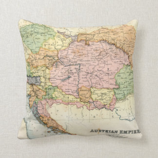 Antique map of the Austrian Empire Throw Pillow