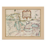 Antique Map of the Great Lakes Poster