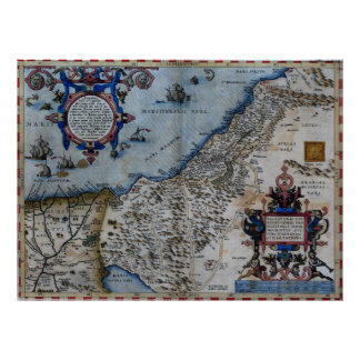 Antique Map of The Holy Land Poster