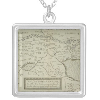Antique Map of the Holy Land Silver Plated Necklace