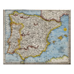 Antique map of the Iberian Peninsula Poster
