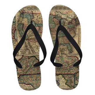 Antique Map of the United States Flip Flops
