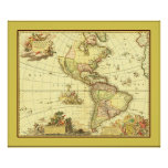 Antique Map of the Western Hemisphere ~ 1700's Poster