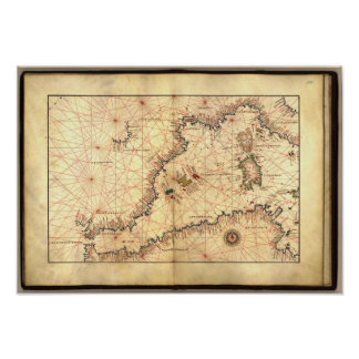 Antique Map of the Western Mediterranean Sea Poster