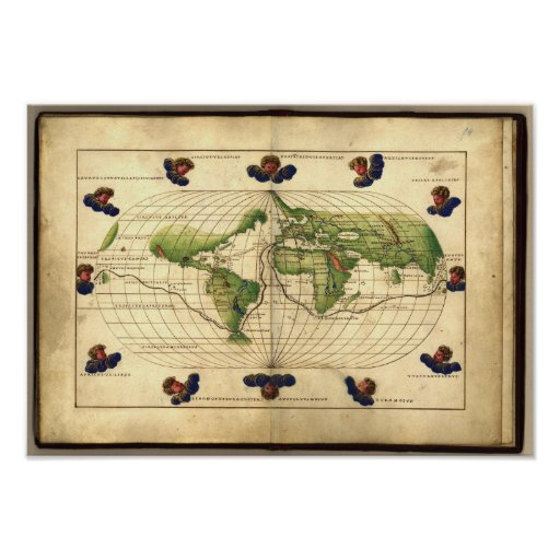 Antique Map of the World Agnese Atlas 1544 A.D. Poster