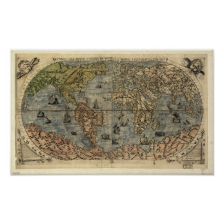 Antique Map of the World as of 1565 Posters