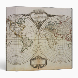 Antique Map of the World Vinyl Binders
