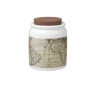 Antique Map of the World Candy Dishes