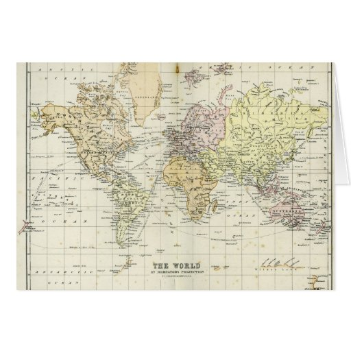 Antique Map of the World Card