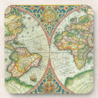 Antique Map of The World Beverage Coasters