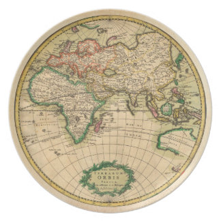 Antique Map of the World Melamine Plate