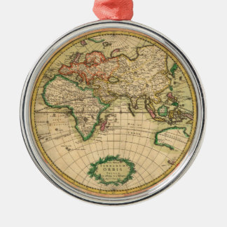 Antique Map of the World Metal Ornament