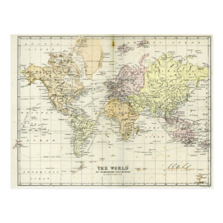 Antique Map of the World Postcards