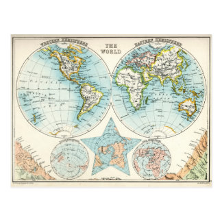 Antique map of the World Postcard