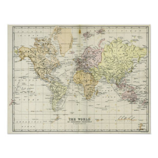Antique Map of the World Poster