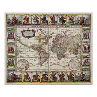 Antique Map of the World  Replica Poster