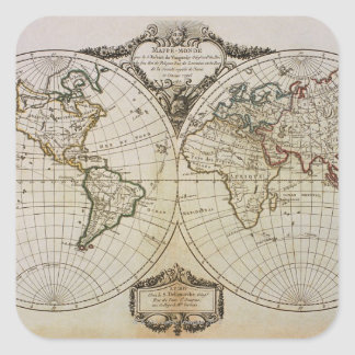 Antique Map of the World Square Sticker