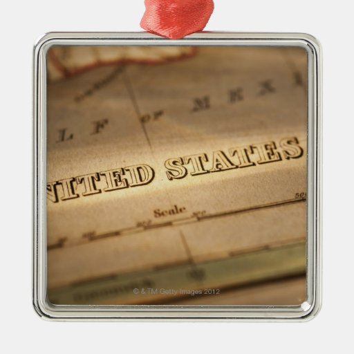 Antique map of United States Square Metal Christmas Ornament