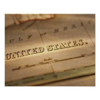 Antique map of United States Poster