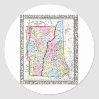 Antique Map of Vermont & New Hampshire c. 1862 Classic Round Sticker