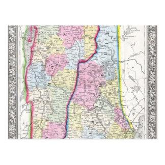 Antique Map of Vermont & New Hampshire c. 1862 Postcard