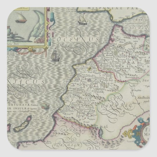Antique Map of West Africa Square Sticker