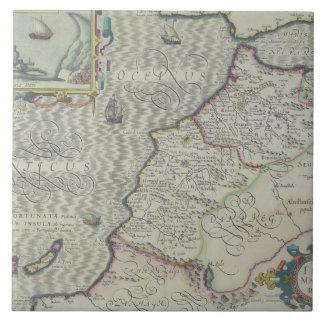 Antique Map of West Africa Ceramic Tile