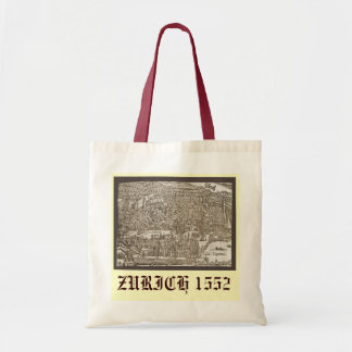Antique map of Zurich 1552 Tote Bag