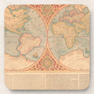 Antique Map - Orbis Terrae Compendiosa Descritio Coaster