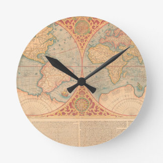Antique Map - Orbis Terrae Compendiosa Descritio Round Clock