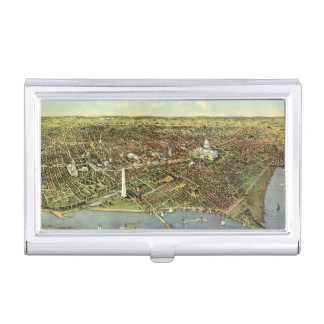 Antique Map, Panoramic View of Washington DC Business Card Case