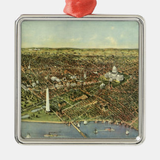Antique Map, Panoramic View of Washington DC Metal Ornament