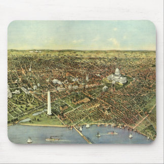 Antique Map, Panoramic View of Washington DC Mouse Pad