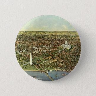 Antique Map, Panoramic View of Washington DC Pinback Button