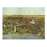Antique Map, Panoramic View of Washington DC Postcard