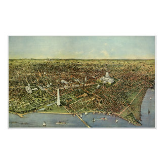 Antique Map, Panoramic View of Washington DC Poster